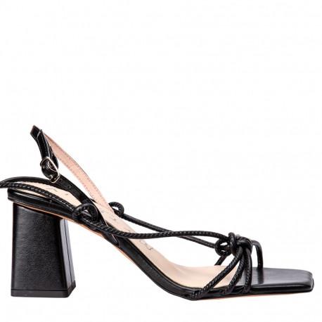 Sandalia tacón Ani cordones negro