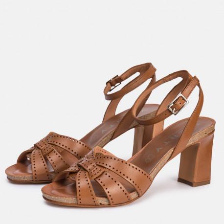 Sandalia tacón piel cuero SANTORINI