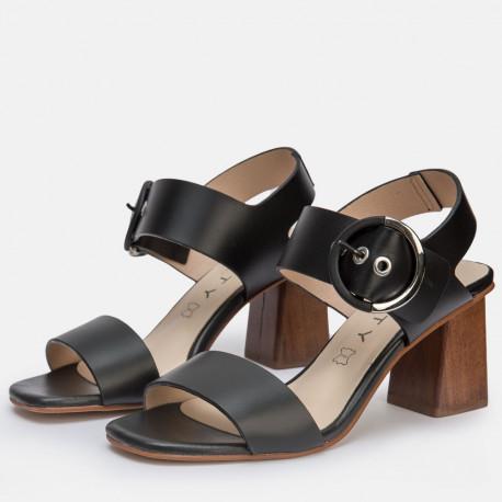 Sandalia tacón piel negro AMANDA