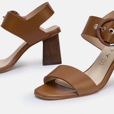 Sandalia tacón piel cuero AMANDA