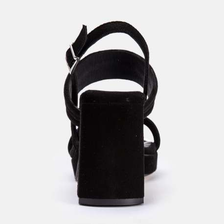 Sandalia tacón Jim Ante negro
