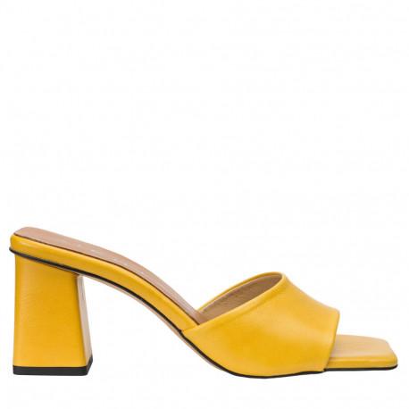 Sandalia mule tacón piel amarillo ANI