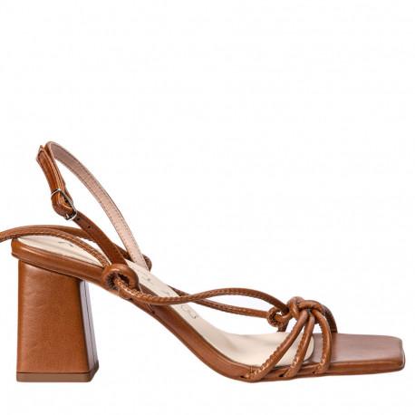 Sandalia tacón Ani cordones cuero