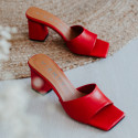 Sandalia mule tacón piel rojo Ani