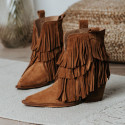 Fringed suede light leather ankle boots Given