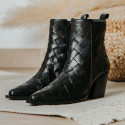 Black Leather braided ankle boot Given