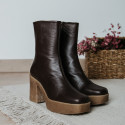 brown leather ankle boots Iron