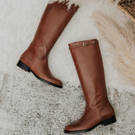 Brown leather boots MORGAN