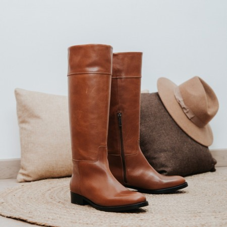 Brown leather high boots MORGAN