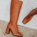 Brown leather high boots Allison