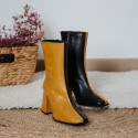 Ocher black leather ankle boots  PILOT