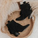 Fringed suede leather ankle boots Given