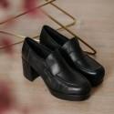 Black leather moccasin Fita