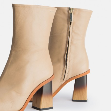 Beige leather ankle boots Caroline