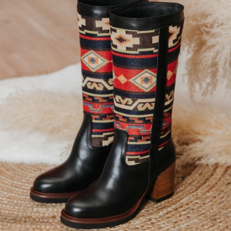 Black leather Ethnic boot RIVER