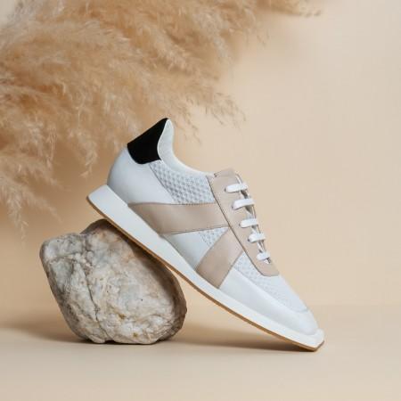 Sneaker piel blanco beige negro LEYA