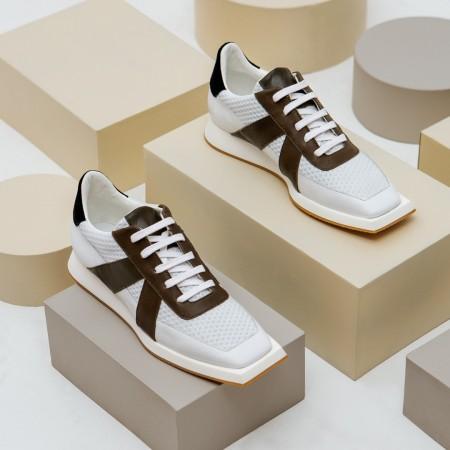 Sneaker piel blanco kaki negro JONAS