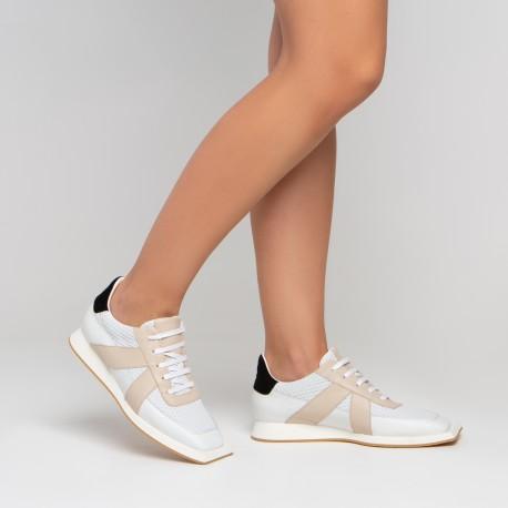 Sneaker piel blanco beige negro JONAS