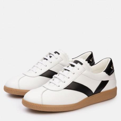 Sneaker piel blanco negro CROWN