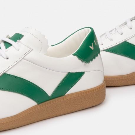 Sneaker piel blanco verde CROWN
