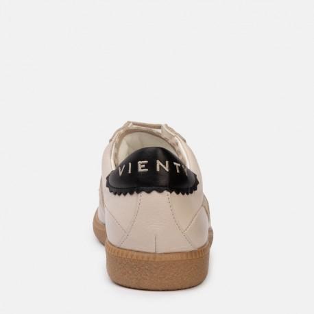 Sneaker suede piel beige negro CROWN