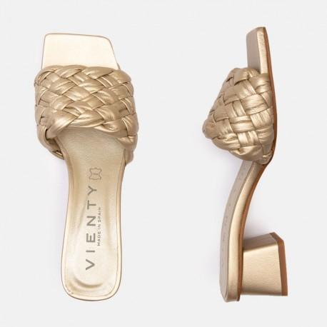 Sandalia tacón Bellie trenza platino