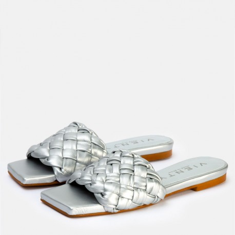 Sandalia trenza plata BELLA