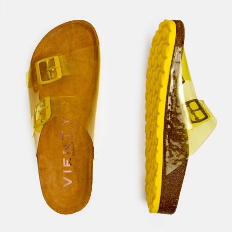 Sandalia plana bio vinilo amarillo
