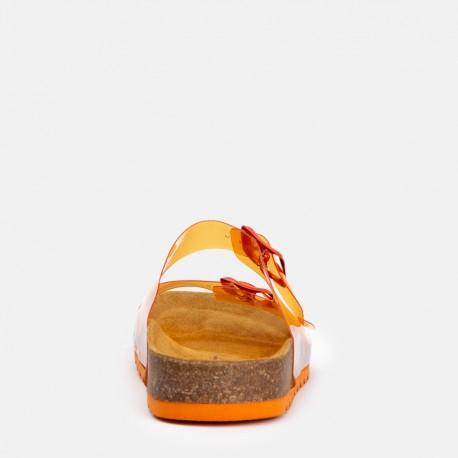 Sandalia plana bio vinilo naranja