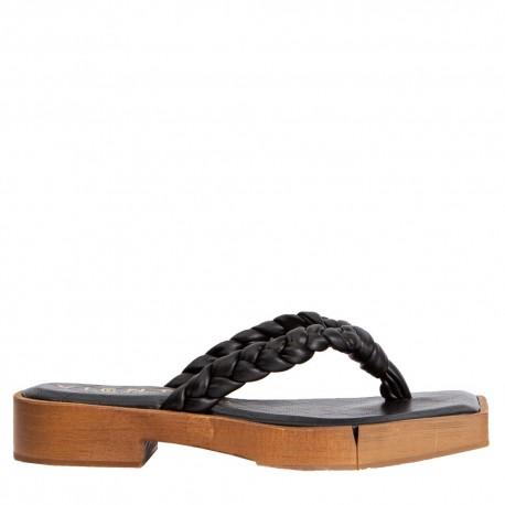 Sandalia esclava trenza negro KIOTO