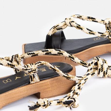 Sandalia esclava cordón negro KIOTO