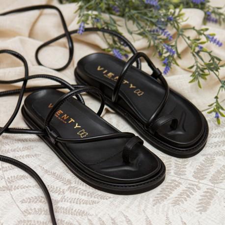 Sandalia cordones negro FALLON