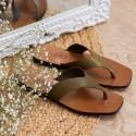 Sandalia plana piel verde Zoco