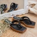 Sandalia plana madera trenza negro Kioto