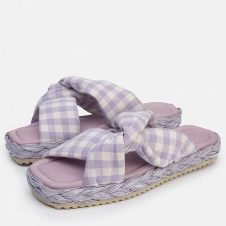 Sandalia nudo tejido acolchado lila Olivia