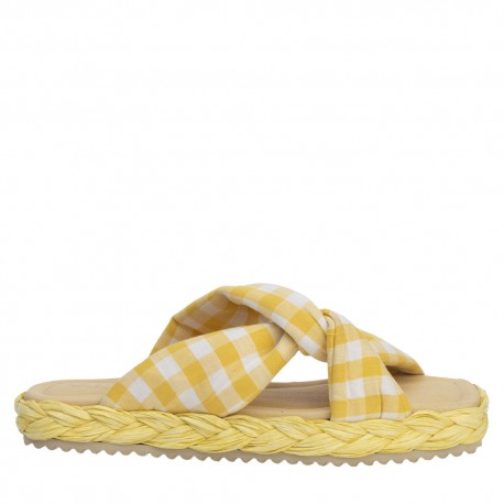 Sandalia nudo tejido acolchado beige OLAY