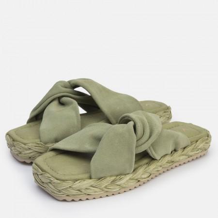 Sandalia nudo suede verde Olivia