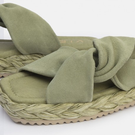 Sandalia nudo suede verde OLAY