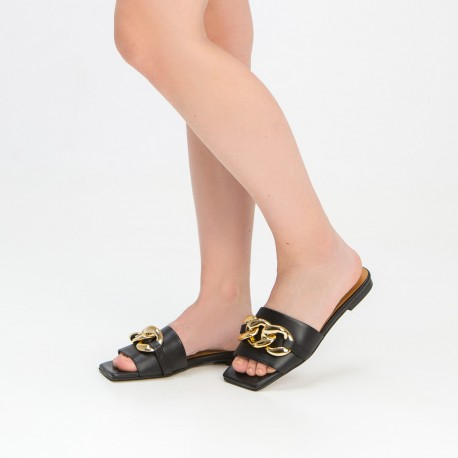 Sandalia pala cadena piel  negro BELLA