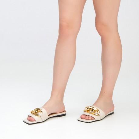 Sandalia pala cadena piel beige BELLA