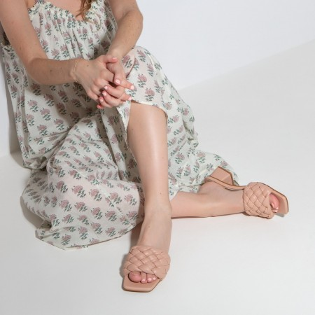 Heeled sandals with padded braid detail in nude BELLIE