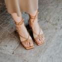 Camel lace-up high-heeled sandal Bellie