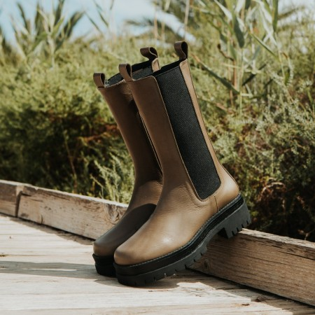 Khaki leather ankle boots Gran