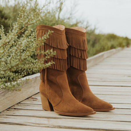 Fringed suede leather boot Given
