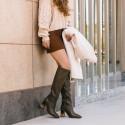 Khaki leather boot Caroline