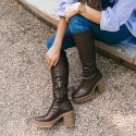 Brown elastic nappa boot Iron