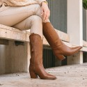 Brown leather cowboy boots Given