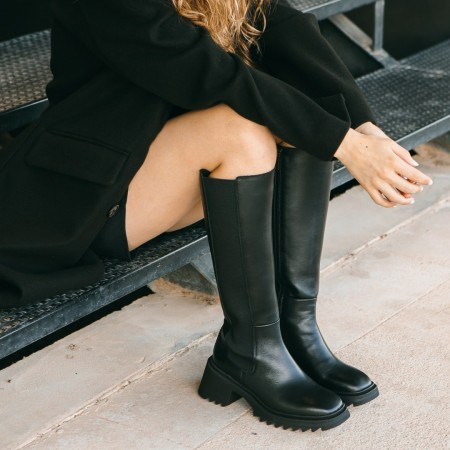 Black leather elastic boots Dhalia