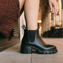 Elastic black leather ankle boots sons