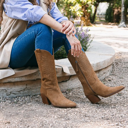 Suede light leather cowboy boots Given
